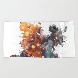 Mask Flow Green Deezy Beach Towel