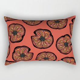 Rusted Poppy Pattern - red and brown poppies autumn fall Rectangular Pillow