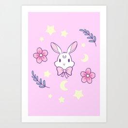 Sakura Bunny // Pink Art Print