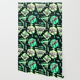90's Dinosaur Skeleton Neon Pattern Wallpaper