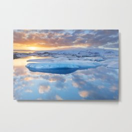 Icebergs in Jökulsárlón glacier lake at sunset Metal Print