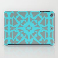 gray pattern iPad Cases featuring Turquoise and Gray Pattern  by xiari