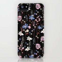 Darkly Beautiful Wildflower Floral Pattern iPhone Case