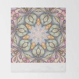 vintage flowers hand drawn and  kaleidoscope mandala Throw Blanket