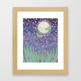 Moonlit stars, luna moths, snails, & irises Framed Art Print