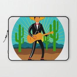 Mexican Mariachi in Desert Circle Retro Laptop Sleeve