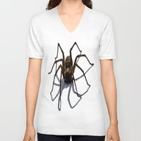 spider V-neck T-shirts featuring SPIDER by aztosaha
