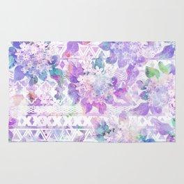 Lavender lilac pink white watercolor aztec floral Rug