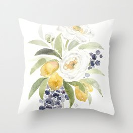 Watercolor Flowers with Blueberries Throw Pillow
