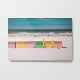 Beach Cabins North Sea Metal Print