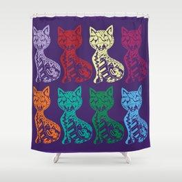 Folk Cats on paper film Shower Curtain