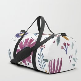 Watercolor Flowers White Duffle Bag