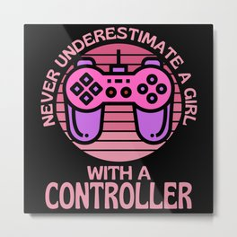 A Girl With A Controller Metal Print