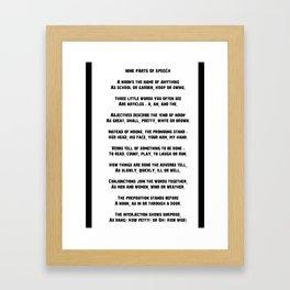 Parts of Speech Rhyme Framed Art Print