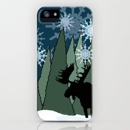 Moose in the Snowy Forest iPhone Case