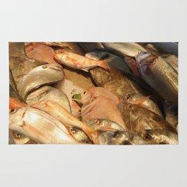 Variety of Fresh Fish Seafood on Ice Rug