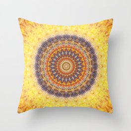 Mandala indigo and yellow Throw Pillow