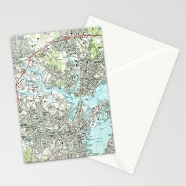 Salem Massachusetts Map (1985) Stationery Cards
