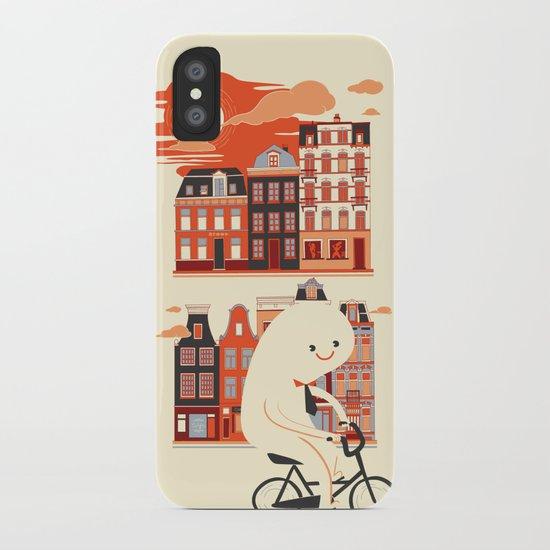 Happy Ghost Biking Through Amsterdam iPhone Case