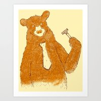 the office Art Prints featuring Office Bear by Tobe Fonseca