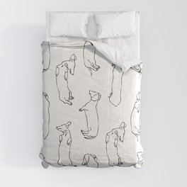 Dachshund Sleep Study Pattern. Sketches of my pet dachshund's sleeping positions. Comforters