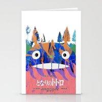 hayao miyazaki Stationery Cards featuring Poster Toto ro (Miyazaki) by Mariano F. Hernandez