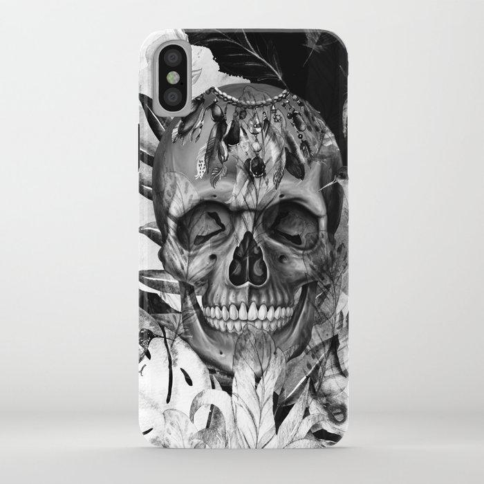 Black White Boho Skull iPhone Case