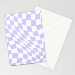 Warped Check - Periwinkle  Stationery Cards