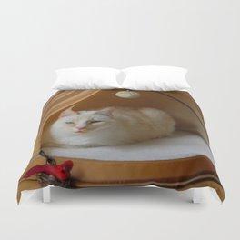 My cat is my zen master Duvet Cover