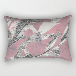 Pink Leaves Abstract Rectangular Pillow