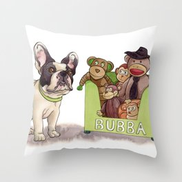 Bubba and His Monkey Toys Throw Pillow