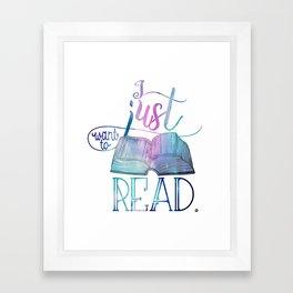 I Just Want To Read - Galaxy Framed Art Print