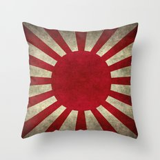 Imperial Japanese Army Ensign Flag - Vintage retro version Throw Pillow