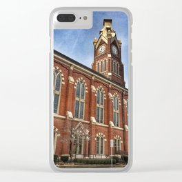 First Lutheran Church Clock Tower in Moline, Illinois Clear iPhone Case