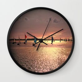 Sunset Sail In Bermuda Wall Clock