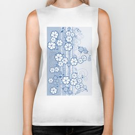Abstract flowers with background Biker Tank