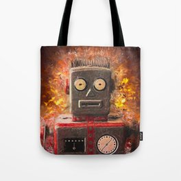 Robot on fire by Brian Vegas Tote Bag