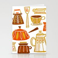 mid century modern Stationery Cards featuring Mid Century Modern Kitchen by Van Huynh