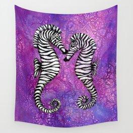 Zebra Seahorses Wall Tapestry