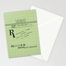 Prescription for Lee Thargic from Dr. B. Ed Thyme Stationery Cards