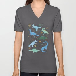 Dinosaurs in Space in Blue Unisex V-Ausschnitt