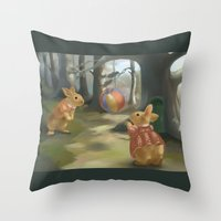 rabbits Throw Pillows featuring Rabbits by Elena Naylor