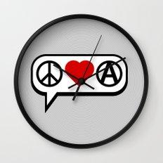 Peace. Love. Anarchy. Wall Clock