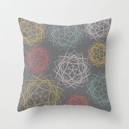 Dark Pastel Origami Blooms Throw Pillow