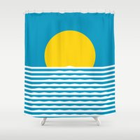 sunrise Shower Curtains featuring Sunrise by FLATOWL