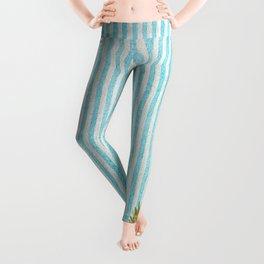 Gold and blue pineapple over blue strips Leggings