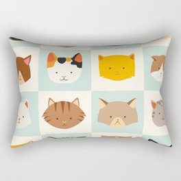 Set of cute cats icons, vector flat illustrations. Cat breeds, pattern, card, game graphics Rectangular Pillow