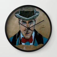 boardwalk empire Wall Clocks featuring Arnold Rothstein (Boardwalk Empire) by Bina Leo Dwyer