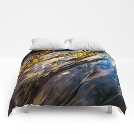 River Ripples in Copper Gold Blue and Brown Comforters