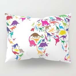 Dinosaur Map of the World Map Pillow Sham